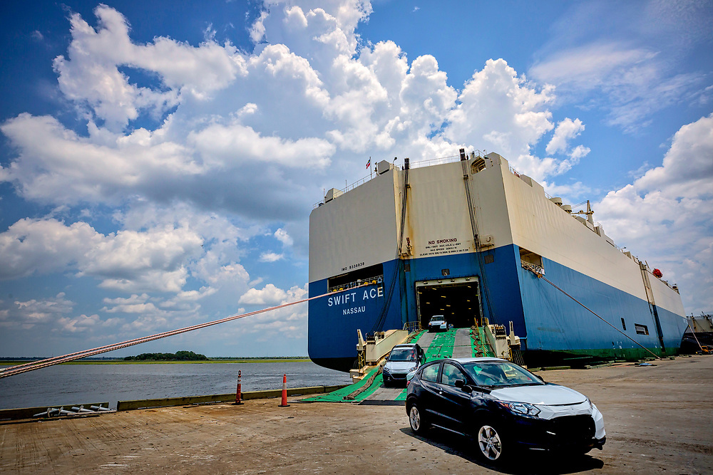 ROROs import and export vehicles at the Georgia Ports Authority Colonials Island facility, Friday, Feb., 10, 2017, in Brunswick, Ga.  (GPA Photo/Stephen B. Morton)