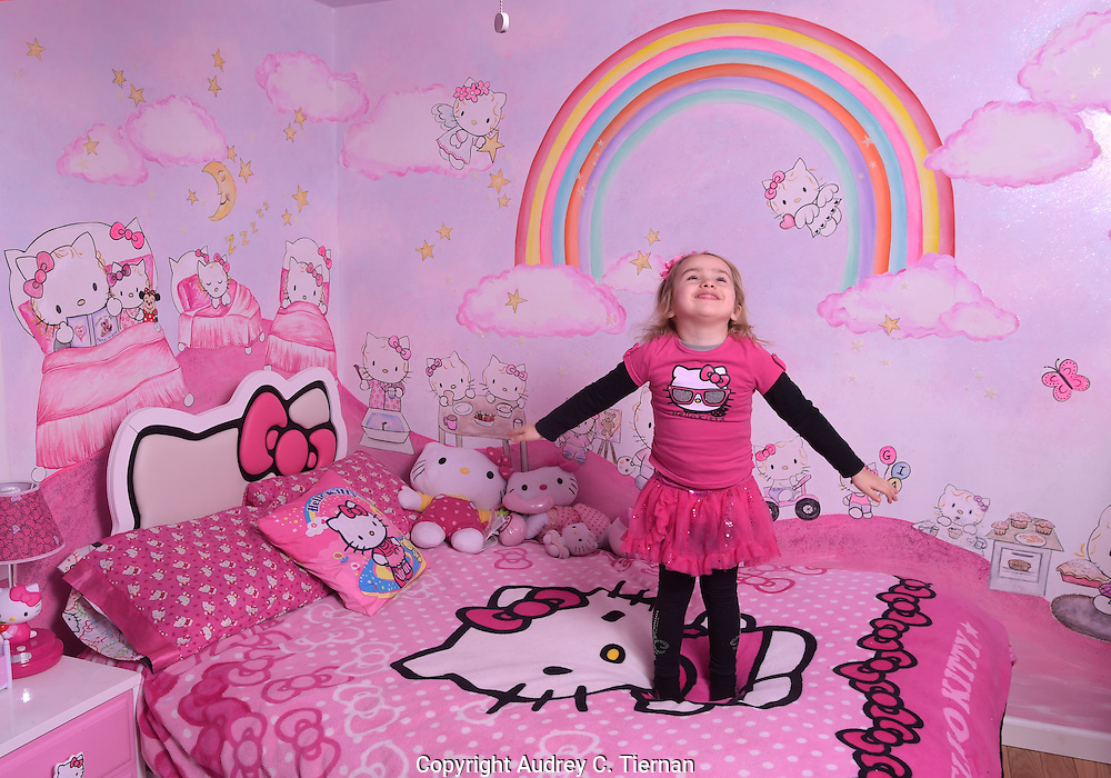 Gia Corse, 4, in her Valley Stream bedroom which is filled with Hello Kitty murals painted by her mother Tania who is an artist, February 11, 2015. © Audrey C Tiernan