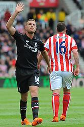 Liverpool's Jordan Henderson shows his frustration. - Photo mandatory by-line: Nizaam Jones/JMP - Mobile: 07966 386802 - 24/05/2015 - SPORT - Football - Stoke - Britannia Stadium - Stoke City v Liverpool - Barclays Premier League