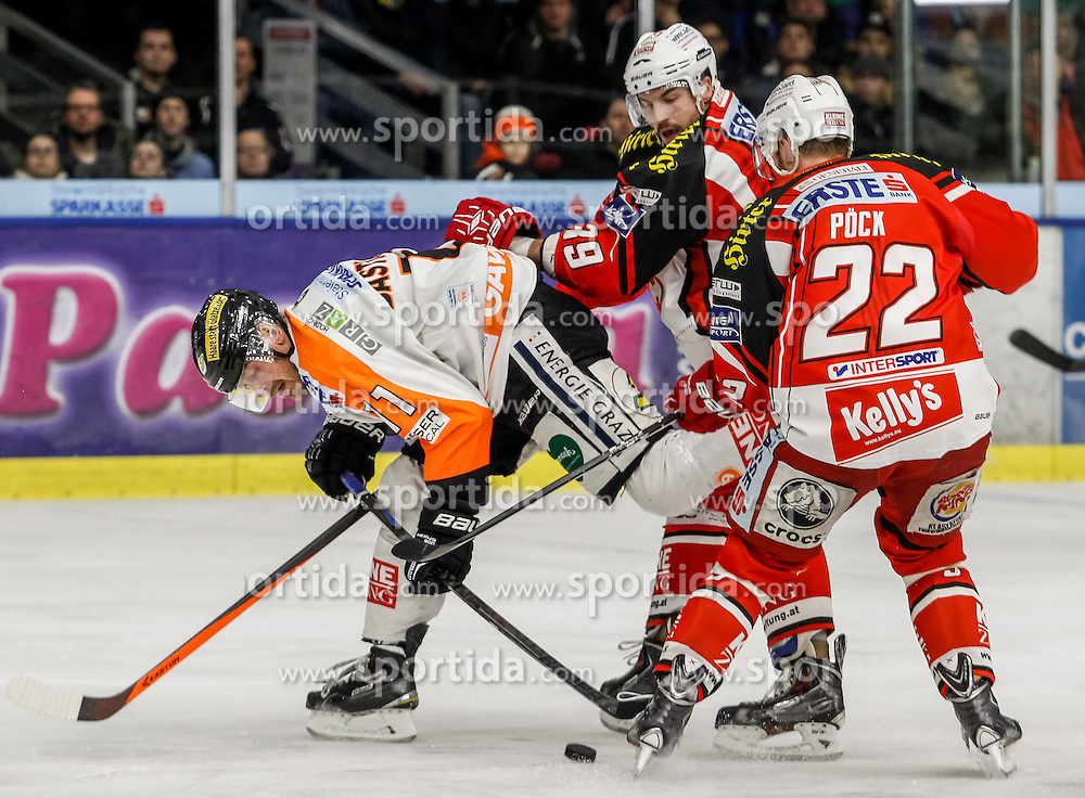 20.11.2014, Eisstadion Liebenau, Graz, AUT, EBEL, Moser Medical Graz 99ers vs EC KAC, 19. Runde, im Bild von links Anders Bastiansen (Moser Medical Graz 99ers), Jean-Francois Jacques (EC KAC) und Thomas Pöck (EC KAC) // during the Erste Bank Icehockey League 19th Round match between Moser Medical Graz 99ers and EC KAC at the Ice Stadium Liebenau, Graz, Austria on 2014/11/20, EXPA Pictures © 2014, PhotoCredit: EXPA/ Erwin Scheriau