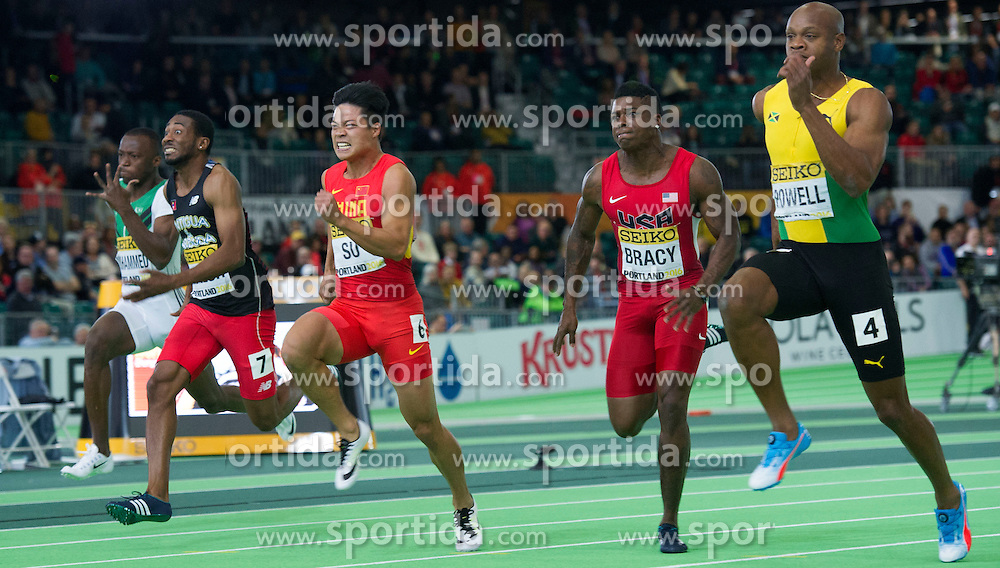 Su Bingtian(3rd, L) of China competes during the men's 60 meters semi-final at the 2016 IAAF World Indoor Athletics Championships at the Oregon Convention Center in Portland, the United States, on March 18, 2016. EXPA Pictures &copy; 2016, PhotoCredit: EXPA/ Photoshot/ Yang Lei from Chongqing<br /> <br /> *****ATTENTION - for AUT, SLO, CRO, SRB, BIH, MAZ, SUI only*****