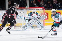 KELOWNA, CANADA -FEBRUARY 5: Jackson Whistle #1 of the Kelowna Rockets defends the net against the Red Deer Rebels on February 5, 2014 at Prospera Place in Kelowna, British Columbia, Canada.   (Photo by Marissa Baecker/Getty Images)  *** Local Caption *** Jackson Whistle;