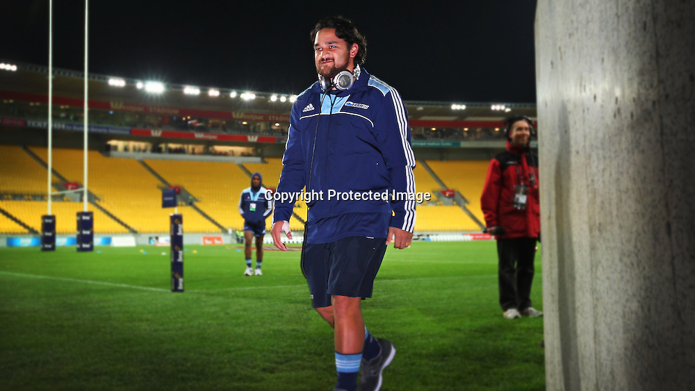 Piri Weepu prior to kick off. Super Rugby match, Hurricanes v Blues, Westpac stadium, Wellington, New Zealand. Friday 4 May 2012.  PHOTO: Grant Down / photosport.co.nz