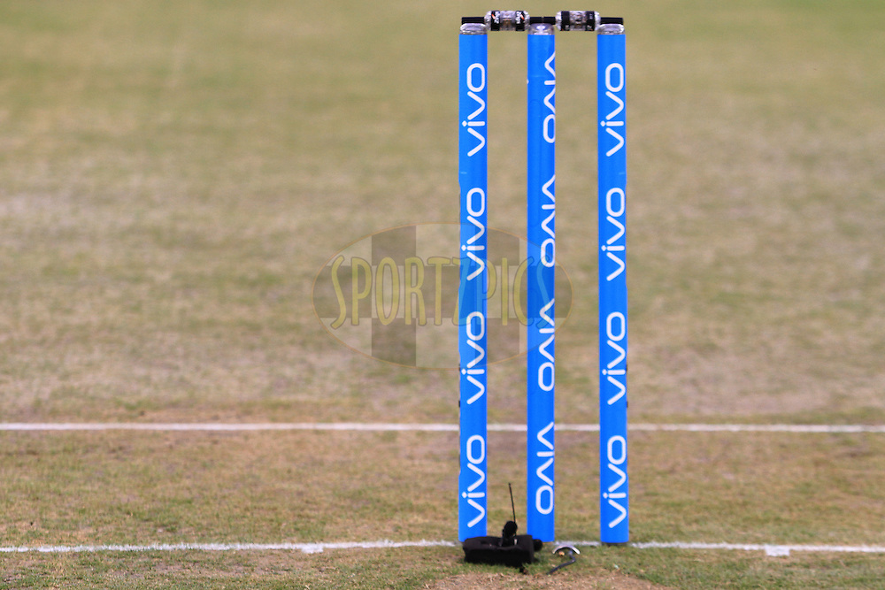 VIVO branding on stumps during match 39 of the Vivo Indian Premier League ( IPL ) 2016 between the Kings XI Punjab and the Royal Challengers Bangalore held at the IS Bindra Stadium, Mohali, India on the 9th May 2016<br /> <br /> Photo by Arjun Singh / IPL/ SPORTZPICS