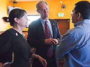 28 OCTOBER 2010 - TOLLESON, AZ: Monica and Terry Goddard (CQ) at Fuego's in Tolleson. Terry Goddard brought his gubernatorial campaign to Fuego's in Tolleson for a lunch time meeting with local voters. Goddard lost the election to sitting Governor Jan Brewer, a conservative Republican.     PHOTO BY JACK KURTZ