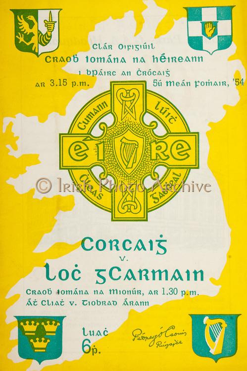 All Ireland Senior Hurling Championship Final,.Programme,.05.09.1954, 09.05.1954, 5th September 1954,.Cork 1-9, Wexford 1-6,.Minor Dublin v Tipperary, .Senior Cork v Wexford,.Croke Park, 0591954AISHCF,