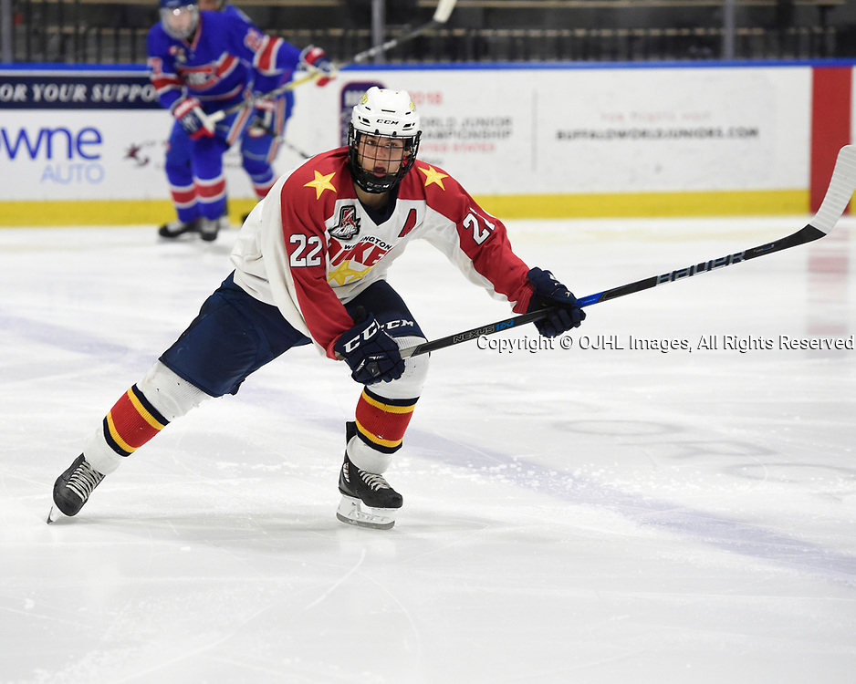 BUFFALO, NY - SEP 20,  2017: Ontario Junior Hockey League Governors Showcase game between the Toronto Jr. Canadiens and Wellington Dukes, Mitchell Martan #22 of the Wellington Dukes skates up the ice during the second period.<br /> (Photo by Andy Corneau / OJHL Images)