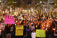 June 03, 2009; Santa Monica, CA - Candlelight vigil for Euna Lee and Laura Ling, two American journalists who have been detained in North Korea for nearly three months...Photo Credit: Darrell Miho