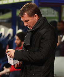 Liverpool Manager, Brendan Rodgers reads his notes  - Photo mandatory by-line: Robbie Stephenson/JMP - Mobile: 07966 386802 - 14/02/2015 - SPORT - Football - London - Selhurst Park - Crystal Palace v Liverpool - FA Cup - Fifth Round