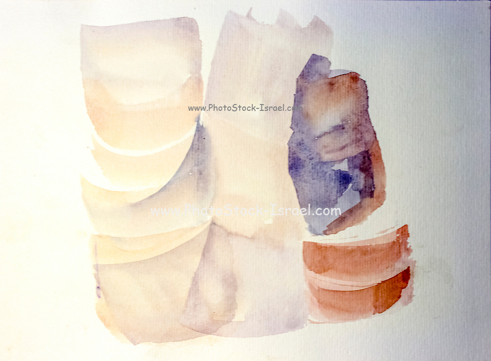 glass bottles abstract. Watercolors on cardboard