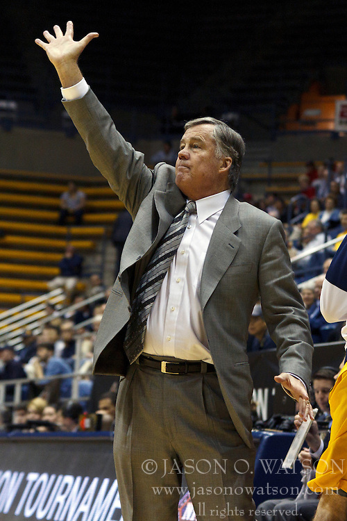 March 16, 2011; Berkeley, CA, USA;  California Golden Bears head coach Mike Montgomery on the sidelines against the Mississippi Rebels during the first half of the first round of the National Invitation Tournament at Haas Pavilion. California defeated Mississippi 77-74.