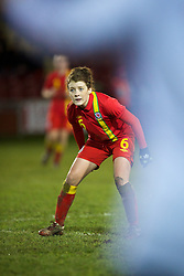 NEWTOWN, WALES - Friday, February 1, 2013: Wales' Angharad James in action against Norway during the Women's Under-19 International Friendly match at Latham Park. (Pic by David Rawcliffe/Propaganda)