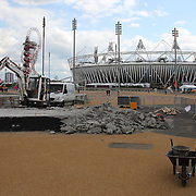 Last minute preparations at Olympic Park, Stratford before the London 2012 Olympic games. London, UK. 19th July 2012. Photo Tim Clayton