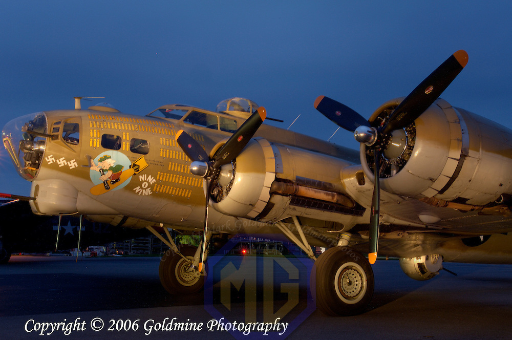 05 October 2006:  A restored and flying B-17 World War II bomber in a light painting in Westminster, MD. This plane is one of only fourteen B-17s still flying in the United States and is maintained by the Collings Foundation.  Exposure was 2.5 minutes