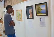 High school art student views plein aire art show, West Reading, Berks Co., PA