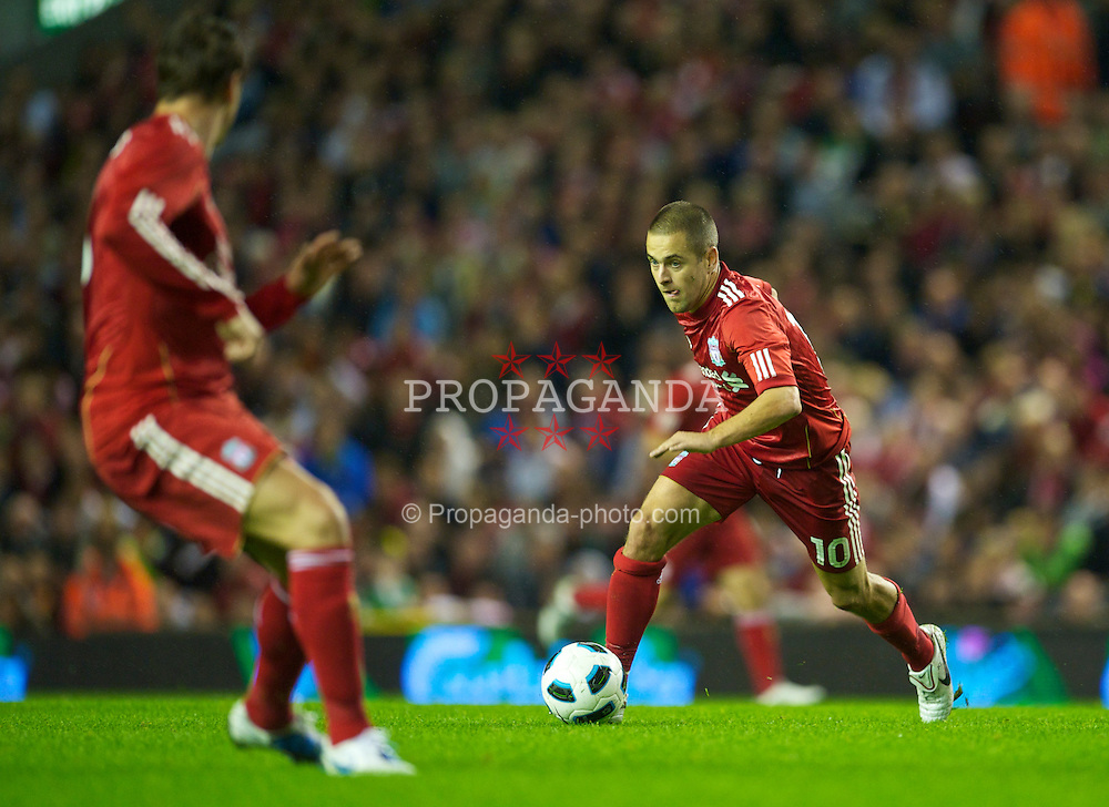 LIVERPOOL, ENGLAND - Thursday, August 19, 2010: Liverpool's Joe Cole in action against Trabzonspor during the UEFA Europa League Play-Off 1st Leg match at Anfield. (Pic by: David Rawcliffe/Propaganda)