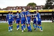 Bristol Rovers players celebrate their goal (1-0) during the EFL Sky Bet League 1 match between Bristol Rovers and Milton Keynes Dons at the Memorial Stadium, Bristol, England on 12 October 2019.