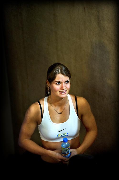 The Netherlands, Apeldoorn, 17-02-2013.<br /> Athletics, Dutch National Championships Indoor, 60 metres sprint final women.<br /> Daphne Schippers is waiting for the medal ceremony. Schippers became the new dutch national champion.<br /> Photo : Klaas Jan van der Weij