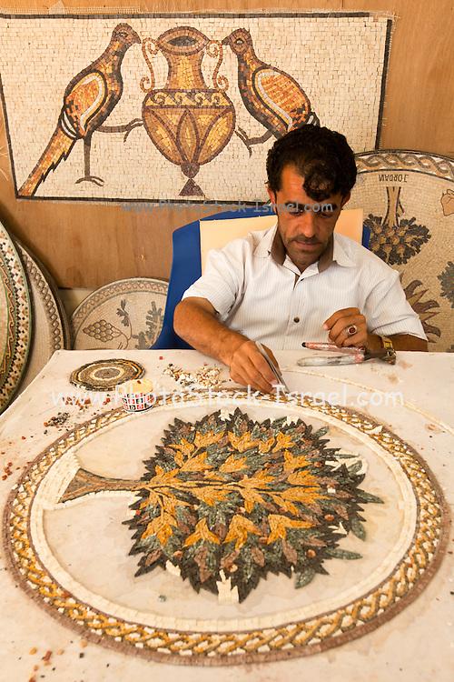 Mosaic Artist at work. Photographed in Jerash, Jordan