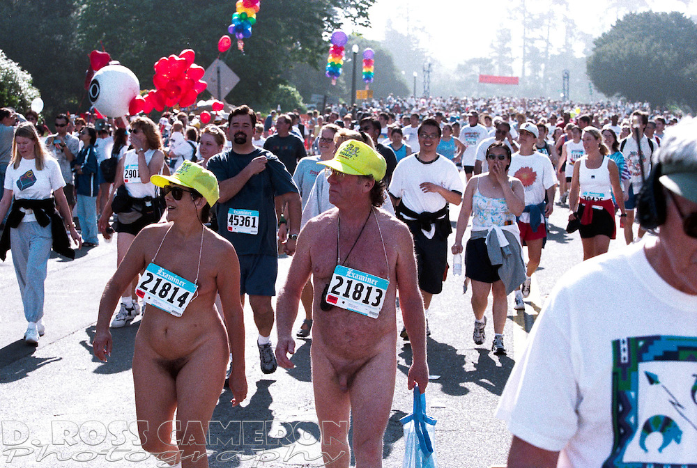 Nude walkers meander through Golden Gate Park during the 90th running of the Bay to Breakers, Sunday, May 20, 2001 in San Francisco. (Photo by D. Ross Cameron)