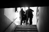 """ROME, ITALY - 24 JANUARY 2013: Denis Verdini (center), national coordinator of Silvio Berlusconi's People of Freedom party (PdL, popolo della Libertà), leads a meeting in a staircase of the Capranica Theatre during the PdL national convention in which Silvio Berlusconi, former PM and leader of The People of Freedom party, presents the PdL candidates for the upcoming general elections in Rome, on January 25, 2013. <br /> <br /> A general election to determine the 630 members of the Chamber of Deputies and the 315 elective members of the Senate, the two houses of the Italian parliament, will take place on 24–25 February 2013. The main candidates running for Prime Minister are Pierluigi Bersani (leader of the centre-left coalition """"Italy. Common Good""""), former PM Mario Monti (leader of the centrist coalition """"With Monti for Italy"""") and former PM Silvio Berlusconi (leader of the centre-right coalition).<br /> <br /> ###<br /> <br /> ROMA, ITALIA - 24 GENNAIO 2013: Denis Verdini (centro), coordinatore nazionale del Popole della Libertà di Silvio Berlusconi, conduce una riunione in una scala della Teatro Capranica durante la convention nazionale del PdL in cui l'ex-premier e leader del Popolo della Libertà presenta i candidati PdL alle prossime elezioni politiche, a Roma il 24 gennaio 2013.<br /> <br /> Le elezioni politiche italiane del 2013 per il rinnovo dei due rami del Parlamento italiano – la Camera dei deputati e il Senato della Repubblica – si terranno domenica 24 e lunedì 25 febbraio 2013 a seguito dello scioglimento anticipato delle Camere avvenuto il 22 dicembre 2012, quattro mesi prima della conclusione naturale della XVI Legislatura. I principali candidate per la Presidenza del Consiglio sono Pierluigi Bersani (leader della coalizione di centro-sinistra """"Italia. Bene Comune""""), il premier uscente Mario Monti (leader della coalizione di centro """"Con Monti per l'Italia"""") e l'ex-premier Silvio Berlusconi (leader della coalizione di centro-destra).ROME, ITALY - 24 """