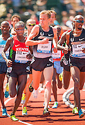 The competition got a little tight between GALEN RUPP (USA) and THOMAS PKEMEI LONGOSIWA (KEN) in the Mens 5000m during the second day of the Diamond League event Prefontaine Classic held at the University of Oregons Hayward Field.The Prefontaine Classic is named for University of Oregon track legend Steve Prefontaine.