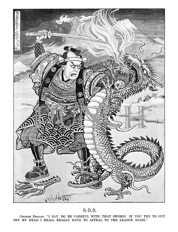 "S.O.S. Chinese Dragon. ""I say, do be careful with that sword! If you try to cut off my head I shall really have to appeal to the League again."""
