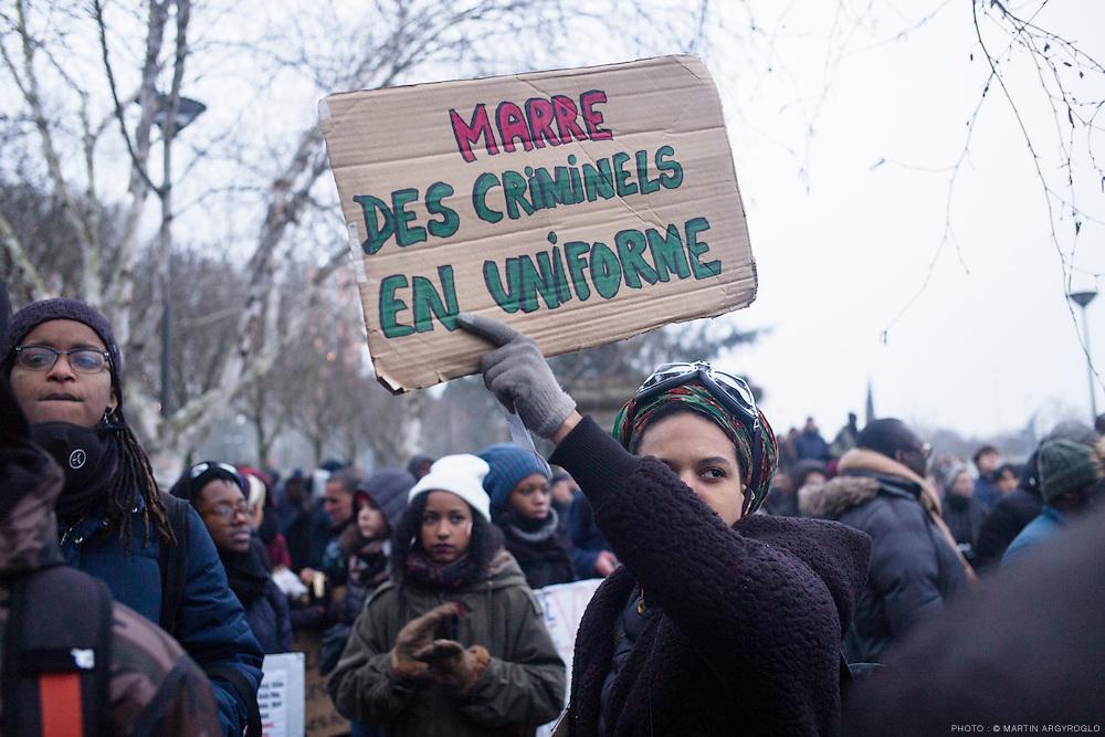 Rassemblement en soutien à Théo, Adama et toutes les victimes de violences policières. Bobigny (Seine-Saint-Denis), samedi 11 février 2017.