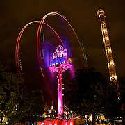 The spinning Vertigo ride in Tivoli Gardens in Copenhagen, one of the oldest amusement parks in the world