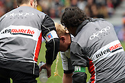 Shane Geraghty of Brive gets sick on the pitch during the second half. Stade Toulousain v Brive, 24eme Journee, Top 14. Stade Ernest Wallon, Toulouse, France, 21 Avril 2012.