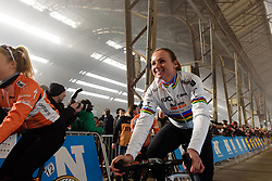 Chantal Blaak enjoying the attention from the crowds at Omloop het Nieuwsblad - Elite Women - 2018 - a 122 km road race on February 24, 2018, from Gent to Ninove, Belgium. (Photo by Sean Robinson/Velofocus.com)