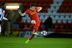 KIDDERMINSTER, ENGLAND - Tuesday, February 28, 2017: Liverpool's Matthew Virtue in action against West Bromwich Albion during the FA Premier League Cup Group G match at Aggborough Stadium. (Pic by David Rawcliffe/Propaganda)