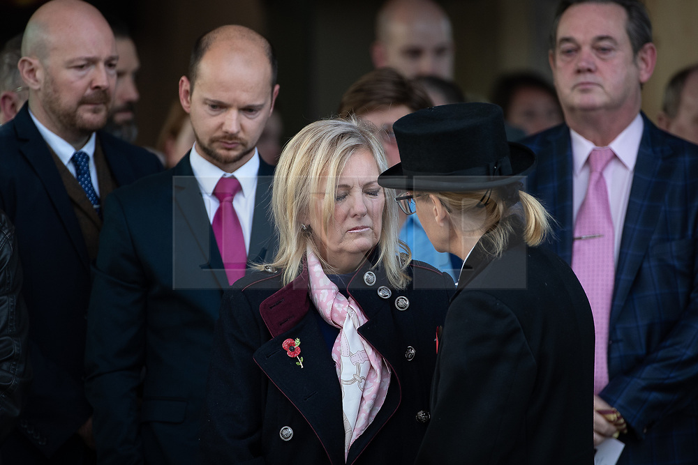 © Licensed to London News Pictures . 30/10/2018. Accrington , UK . Gemma's mother HELEN SPROATES outside the crematorium after the service . The funeral of Gemma Nuttall at Accrington Crematorium . Gemma died of cancer despite initially seeing off the disease after radical immunotherapy treatment in Germany , paid for with the fundraising support of actress Kate Winslet , who read of Gemma's plight on a crowdfunding website shortly after she lost her own mother to cancer . Permission to photograph given by Gemma's mother , Helen Sproates . Photo credit : Joel Goodman/LNP
