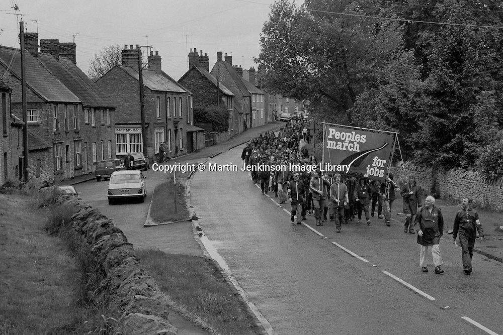Peoples March for Jobs passing through Lavendon , Bucks. This is the same place as the iconic photograph of the Jarrow Marchers was taken in the 1930s.