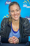 January 08, 2017:  World Number 1 ranked womens tennis player and 2016 US Open Champion Angelique Kerber (GER) smiles as she speaks to the media during the first day of the Apia International Sydney played at the Sydney Olympic Park Tennis Centre. (Photo by Icon Sportswire)