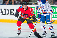 PENTICTON, CANADA - SEPTEMBER 8: Andrew Mangiapane #88 of Calgary Flames skates against the Edmonton Oilers on September 8, 2017 at the South Okanagan Event Centre in Penticton, British Columbia, Canada.  (Photo by Marissa Baecker/Shoot the Breeze)  *** Local Caption ***