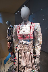 Display of women's fantasy costume Museum of European Cultures in Dahlem, Berlin, Germany