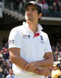 © Licensed to London News Pictures. 29/12/2013. Alastair Cook with his arms crossed after England's loss during Day 4 of the Ashes Boxing Day Test Match between Australia Vs England at the MCG on 29 December, 2013 in Melbourne, Australia. Photo credit : Asanka Brendon Ratnayake/LNP