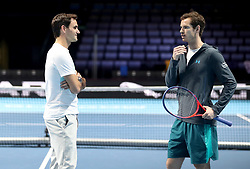 Roger Federer and Andy Murray on court ahead of the Andy Murray Live Event at the SSE Hydro, Glasgow.