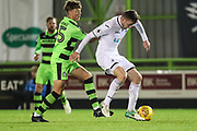 Swansea City's Ryan Blair shields the ball from Forest Green Rovers Jordan Stevens(35) during the EFL Trophy match between Forest Green Rovers and U21 Swansea City at the New Lawn, Forest Green, United Kingdom on 31 October 2017. Photo by Shane Healey.