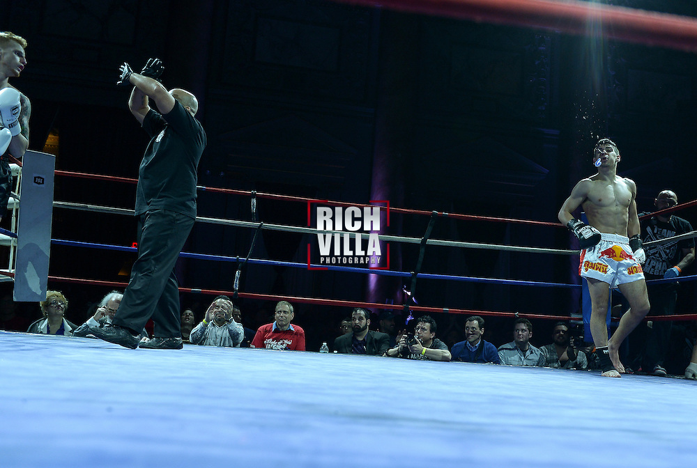Friday, April 4, 2014, New York, NY:  Dom Biondo(black gloves) Vs Billy Rose( white gloves) at The Capitale Ballroom in Combat at The Capitale 32.