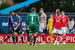 Aden Flint of Bristol City swaps shirts with Andy Carroll of West Ham after West Ham win the game 0-1 - Photo mandatory by-line: Rogan Thomson/JMP - 07966 386802 - 25/01/2015 - SPORT - FOOTBALL - Bristol, England - Ashton Gate Stadium - Bristol City v West Ham United - FA Cup Fourth Round Proper.