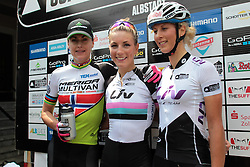 01.06.2014, Bullentaele, Albstadt, GER, UCI Mountain Bike World Cup, Cross Country Damen, im Bild Links Gunn-Rita Dahle Flesjaa Norwegen Mitte Pauline Ferrand Prevot Frankreich Rechts Jolanda Neff Schweiz // during Womens Cross Country Race of UCI Mountainbike Worldcup at the Bullentaele in Albstadt, Germany on 2014/06/01. EXPA Pictures © 2014, PhotoCredit: EXPA/ Eibner-Pressefoto/ Langer<br /> <br /> *****ATTENTION - OUT of GER*****
