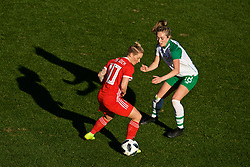 MARBELLA, SPAIN - Thursday, February 28, 2019: Wales' Jessica Fishlock and Republic of Ireland's Megan Connolly during an international friendly match between Wales and Republic of Ireland at the Marbella Football Centre. (Pic by David Rawcliffe/Propaganda)