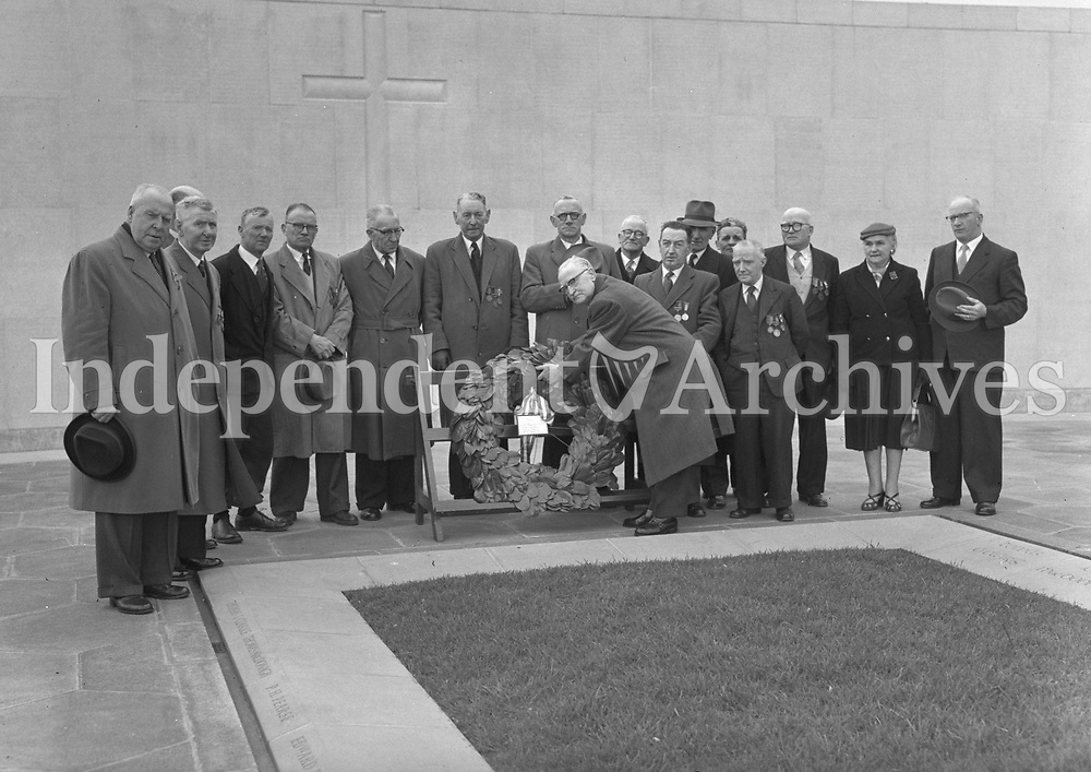 R1944A<br /> Wreaths laid at Arbour Hill as part of the 1916 Commemorations held on May 6, 1959. It was attended by the President and the Taosieach, as well as 500 troops of the 2nd Brigade. After the Mass a procession moved to the Memorial at the back of the church where the Benedictus was chanted by the clergy, the Last Post sounded and De Profundis was recited, after which the Tricolour was flown at full mast. <br /> (Part of the Independent Newspapers Ireland/NLI Collection)