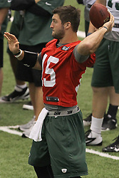 June 12, 2012; Florham Park, NJ, USA; New York Jets quarterback Tim Tebow (15) during New York Jets Minicamp at the Atlantic Health Training Center.