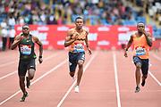 Christian Coleman (USA), left, defeats Zharnel Hughes (GBR) and Akani Simbine (RSA) to win the 100m in 9.94 during the Grand Prix Birmingham in an IAAF Diamond League meet in Birmingham, United Kingdom, Saturday, Aug. 18, 2018. (Jiro Mochizuki/mage of Sport)