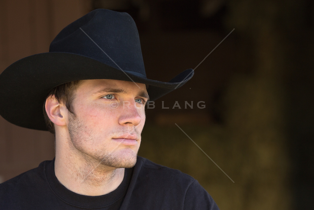 portrait of a chiseled All American cowboy