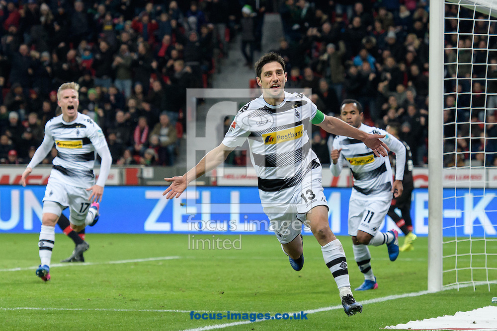 Lars Stindl (c) of Borussia Monchengladbach celebrates scoring his second goal against Bayer Leverkusen during the Bundesliga match at BayArena, Leverkusen<br /> Picture by EXPA Pictures/Focus Images Ltd 07814482222<br /> 28/01/2017<br /> *** UK &amp; IRELAND ONLY ***<br /> <br /> EXPA-EIB-170129-0038.jpg