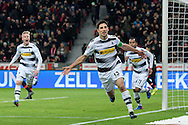 Lars Stindl (c) of Borussia Monchengladbach celebrates scoring his second goal against Bayer Leverkusen during the Bundesliga match at BayArena, Leverkusen<br /> Picture by EXPA Pictures/Focus Images Ltd 07814482222<br /> 28/01/2017<br /> *** UK & IRELAND ONLY ***<br /> <br /> EXPA-EIB-170129-0038.jpg